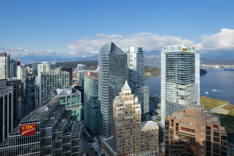 MNP Tower (center) on the skyline of downtown Vancouver.